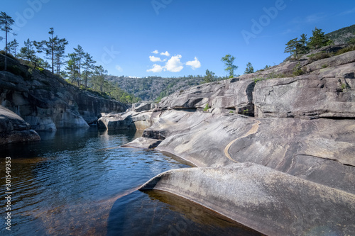 Montage in der Fensternische Forest river Jettegrytene river eroded the rocks giving beautiful shapes and form to the rocks Norway