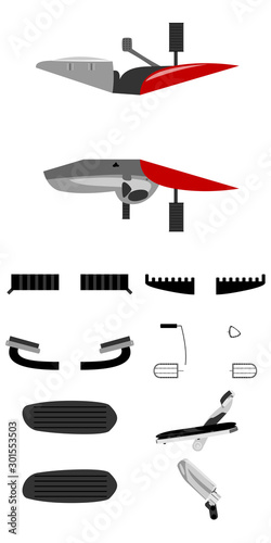 Fotografie, Obraz  Motorcycle foot pegs front, rear, side and top view isolated vector illustration