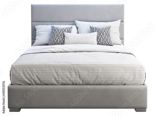 Modern gray leather frame double bed with bed linen. 3d render Canvas Print