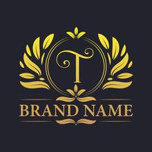 Golden Vintage Ornamental Alphabet T Logo Design. Luxurious Golden Elegant Letter T Logo Design Template.