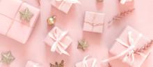 Christmas Pink Flat Lay. Holid...
