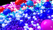 canvas print picture - beautiful shiny balls of different colors and sizes completely cover the surface. Some spheres glow. 3d photorealistic render geometric reative holiday background of shiny balls. Multicolored