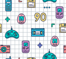 90s Gadgets Colorful Flat Line Icons.Seamless Pattern With Joystick,videotape,cell Phone, Electronic Games And Other.