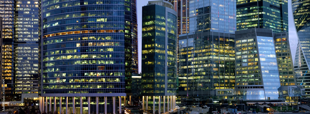 Fototapety, obrazy: Moscow City International Business Centre skyscraper buildings with panoramic windows night view