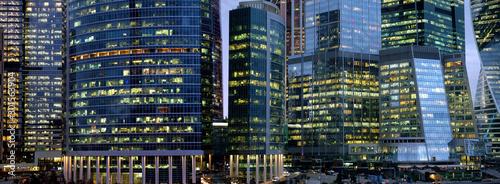 Slika na platnu Moscow City International Business Centre skyscraper buildings with panoramic wi