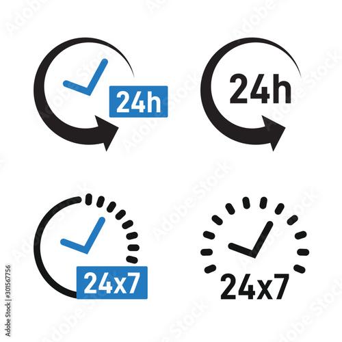 24 hour service icon set Canvas Print