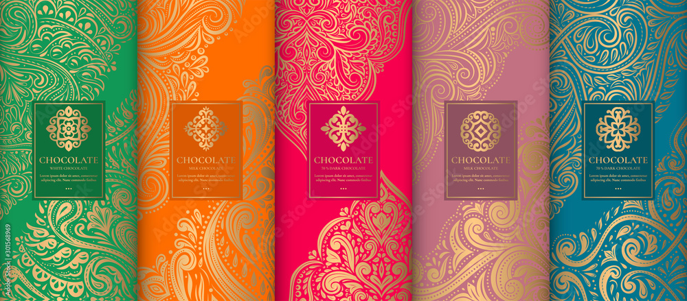 Fototapeta Luxury packaging design of chocolate bars. Vintage vector ornament template. Elegant, classic elements. Great for food, drink and other package types. Can be used for background and wallpaper.
