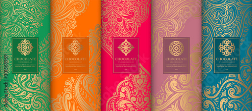 Fototapeta Luxury packaging design of chocolate bars. Vintage vector ornament template. Elegant, classic elements. Great for food, drink and other package types. Can be used for background and wallpaper. obraz