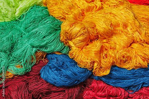 Fototapeta Dyed new wool in the medina of Marrakech.
