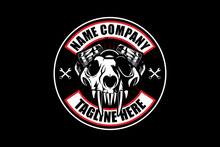 Skull Wolf With V-twin Engine Vector Logo Template