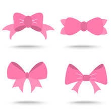 Set Of Pink Bow For Celebration Christmas And Birthday,