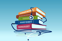 Vector Of A Stethoscope And A Pile Of Medical Books