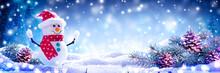 Happy Snowman On Snowy Wooden ...