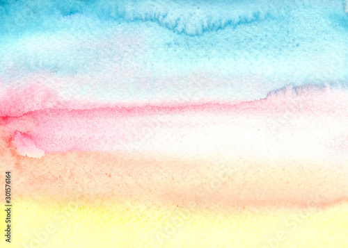 Obraz beautiful watercolor gradient from blue to yellow - fototapety do salonu