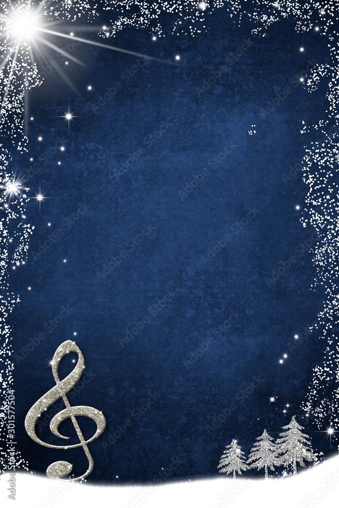 Fototapeta Christmas musical card. Treble clef and fir trees