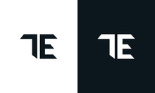 Minimalist Abstract Letter TE Logo. This Logo Icon Incorporate With Two Abstract Shape In The Creative Process.