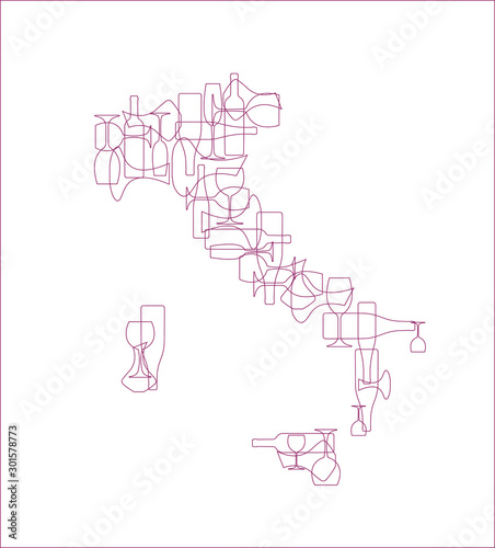 Countries winemakers - stylized maps from silhouettes of wine bottles, glasses and decanters Canvas-taulu