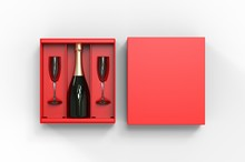 Champagne Bottle And Flute Gla...