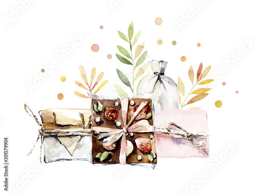 Fototapety, obrazy: Craft set for a stylish gift. Watercolor hand drawn illustration