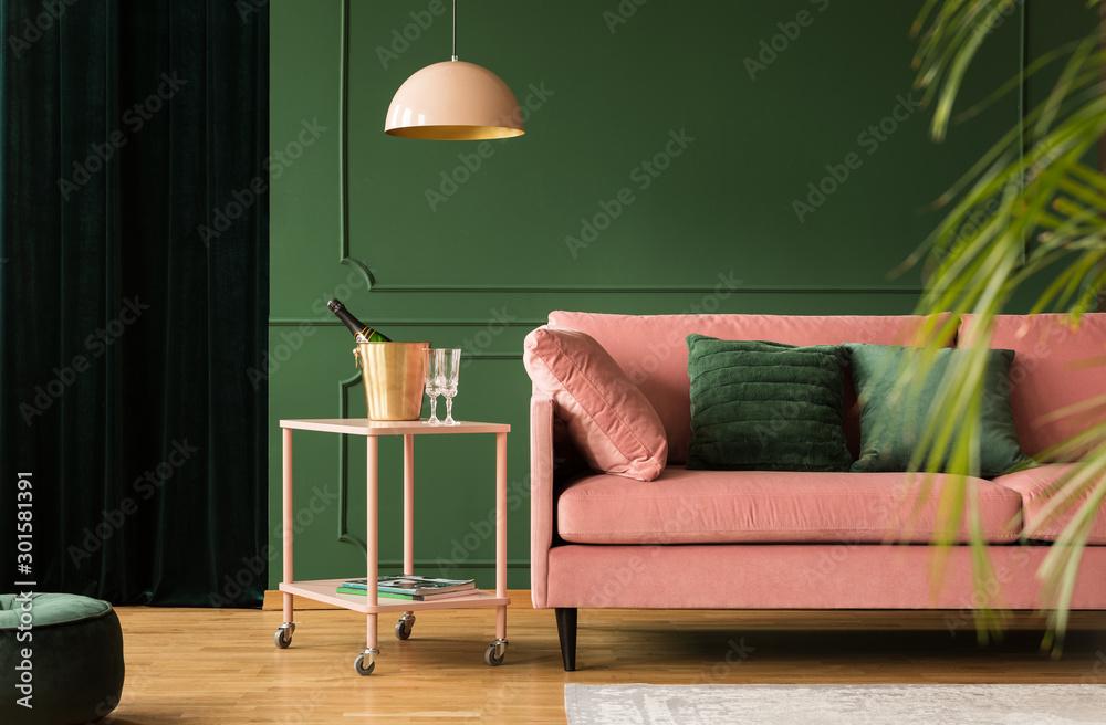 Fototapety, obrazy: Stylish velvet sofa in pink and green living room