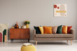 canvas print picture - Retro style in beautiful living room interior with grey empty wall
