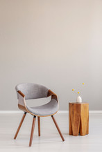 Stylish Grey Wooden Chair In E...