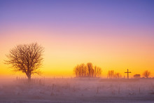Misty Sunset At A Religious Cr...