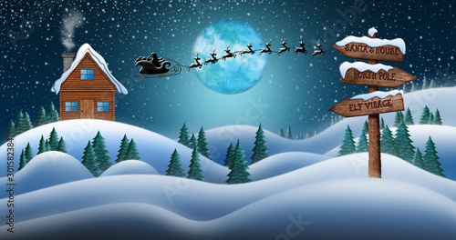 Santa Clause and Reindeers Sleighing Through Christmas Night Over the Snow Field Wallpaper Mural