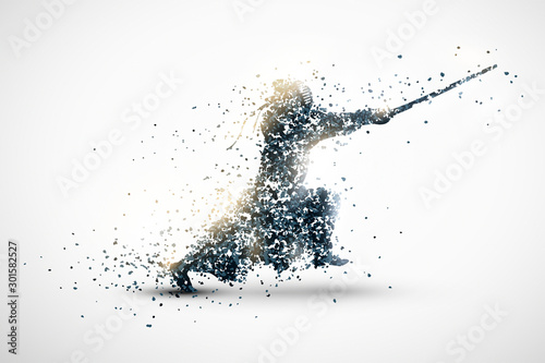 Fototapeta silhouette of a kendo from particles 1. silver light background. obraz