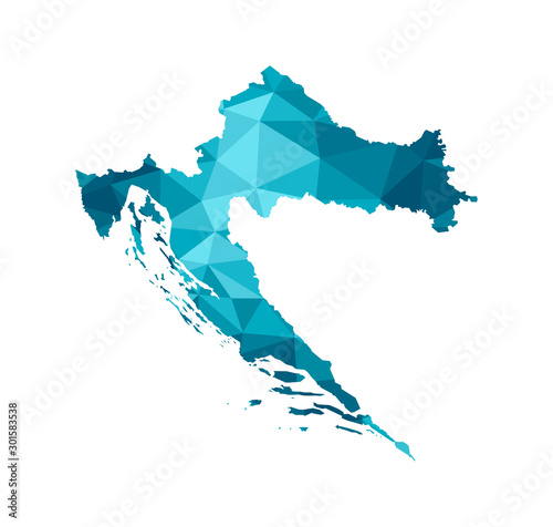 Fotografie, Obraz Vector isolated illustration icon with simplified blue silhouette of Croatia map