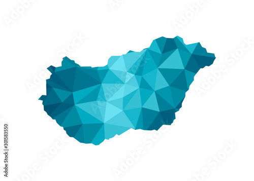 Vector isolated illustration icon with simplified blue silhouette of Hungary map Canvas Print