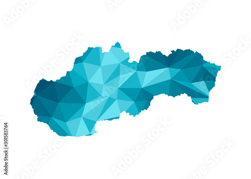 Obraz na plátně Vector isolated illustration icon with simplified blue silhouette of Slovakia map