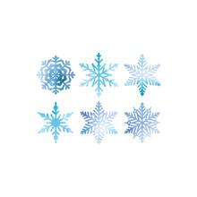 Snowflake Blue Watercolor Vector Decoration Ornament Set. Blue Snowflake Watercolors For Christmas Decoration.