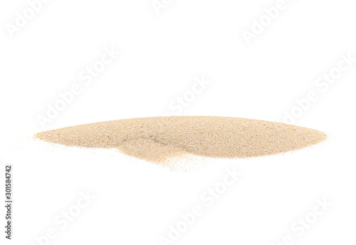 Pinturas sobre lienzo  White Pile of Sand isolated on white Background, real Maldives Sand as Texture o