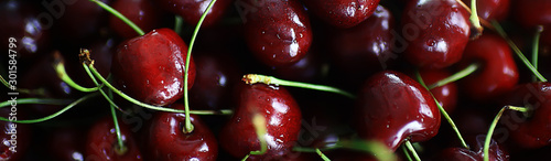 plate with cherry background / beautiful bright background fresh cherry cherries, juicy fruit