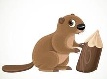 Cute Cartoon Beaver Isolated O...