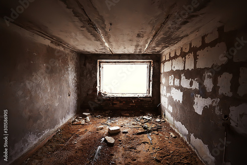 Photo interior of an old stone house abandoned / background old ruined stone house rui