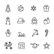Vector Set Of Christmas Line I...