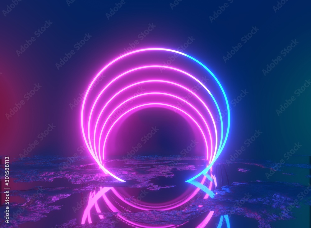 Fototapety, obrazy: Glowing lines, tunnel, neon lights, virtual reality, abstract background, square portal, arch, pink blue spectrum vibrant colors, laser show. 3d rendering.