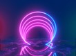 canvas print picture - Glowing lines, tunnel, neon lights, virtual reality, abstract background, square portal, arch, pink blue spectrum vibrant colors, laser show. 3d rendering.