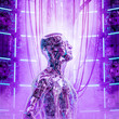 canvas print picture - The thinking machine / 3D illustration of futuristic glass science fiction male humanoid cyborg in deep thought inside computer core