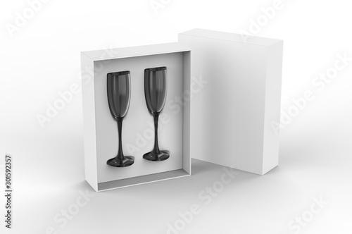 Photo sur Aluminium Alcool Flute glasses gift hard box for branding. 3d render illustration.