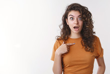 Shocked Girl Being Surprised She Picked Chosen Unwilling Participate Pointing Herself Widen Eyes Disturbed Worried Open Mouth Displeased, Arguing Not Want Involved, Standing White Background