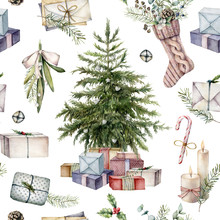 Watercolor Christmas Tree Seamless Pattern. Hand Painted Holiday Symbols, Gift Boxes, Envelopes, Candles And Sock Isolated On White Background. Illustration For Design, Print, Fabric Or Background.