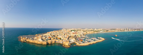 Aerial image of the old City and Port of Acre, Israel. Wallpaper Mural
