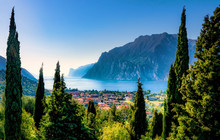 Beautiful Aerial View Of Torbole, Lake Garda (Lago Di Garda) And The Mountains, Italy