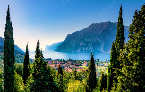 Beautiful aerial view of Torbole, Lake Garda (Lago di Garda) and the mountains, Italy