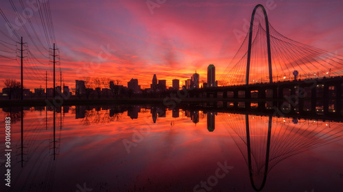 Dallas skyline sunrise reflecting in River