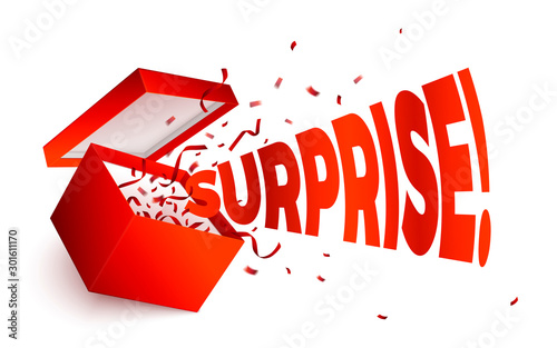 Vector realistic open red gift box, word Surprise Canvas-taulu