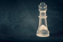 White Frosted Glass King Chess...